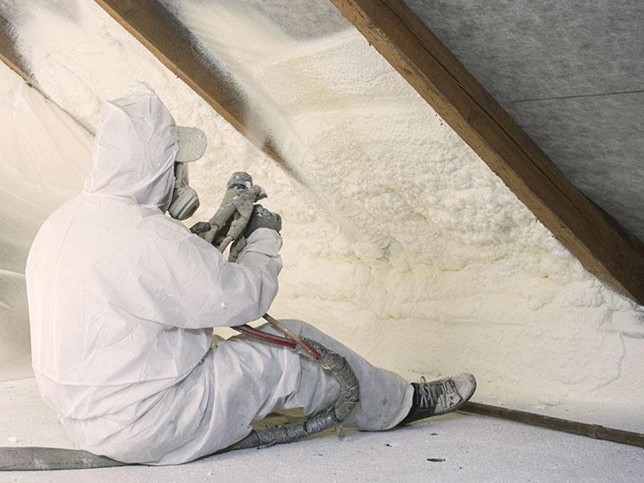 spray foam insulation in custom home